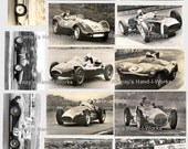 Collage Sheet Vintage Race Cars 101 -JPEG -  U-Print - Downloadable
