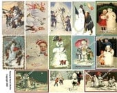 Collage Sheet of Vintage Snowmen 1A - ZNE -  U-Print - JPEG - Downloadable