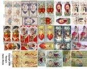 1 X 2 inches Dominos Charm Size Collage Sheet of Vintage Valenines 6F -ZNE - U Print - Jpeg - Download