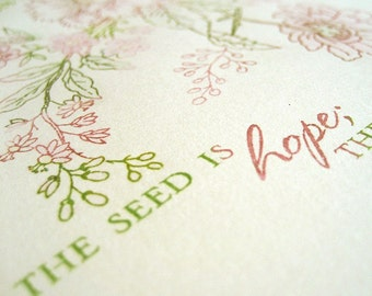 Hope and Joy in Garden Limited-Edition Gocco Print 1/20