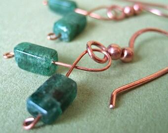 Earrings, Green Aventurine Copper Twist