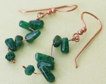 Green Aventurine Zig Zag Copper Earrings