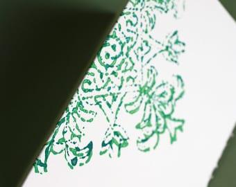 Evergreen Baroque notecards, set of four