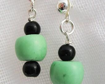 Wasabi Green Turquoise Earrings