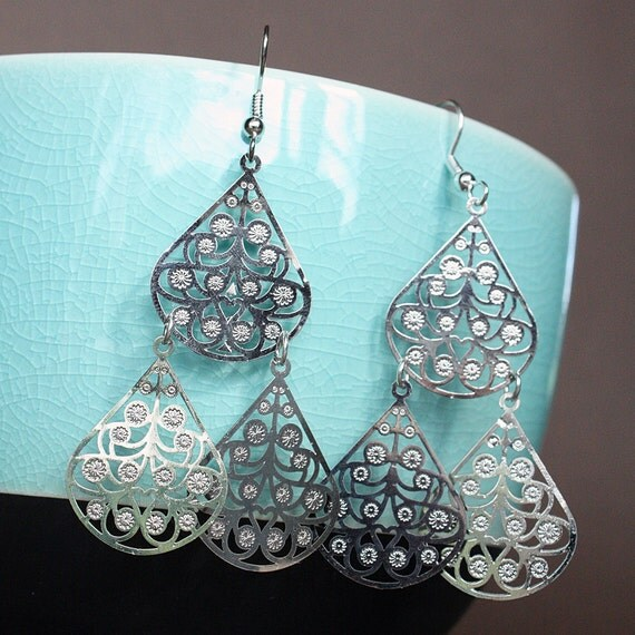 RESERVED for SAM DUFFY Silver Lace Teardrop Earrings