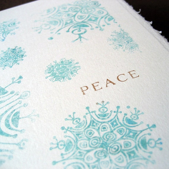 Peaceful Snowflake Holiday cards, set of 4