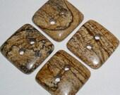 Unique Brown Jasper Square Gemstone Button (1)