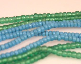 Green Antique African Trade Venetian Pony Beads 3mm - 4mm (70 beads)