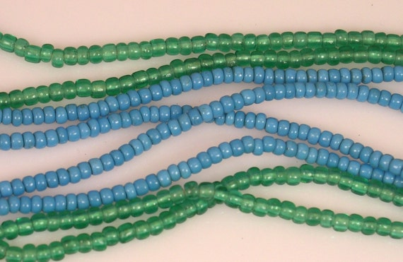 Blue Antique African Trade Venetian Pony Beads 3mm - 4mm (70 beads)