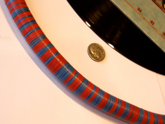 OLD Vulcanic Phono Record Disc Heishi RED and BLUE African Trade Beads 15mm (4 inches)