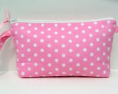Super Sale--Pink and White Classic Polka Dot Wristlet Clutch and Go