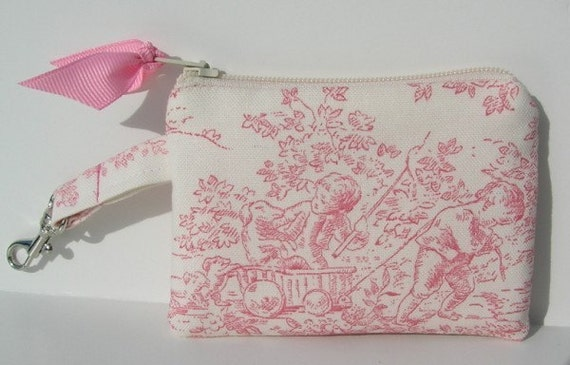 SUPER SALE---Pink and White Toile Coin Purse or Business card holder with Key FOB buckle