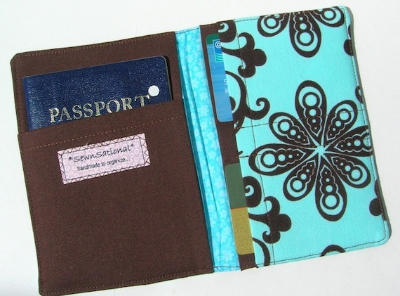 The Perfect Passport Cover Chocolate Brown and Turquoise Blue