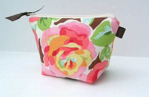 Super Sale---Flat Bottom Padded and zippered Cosmetic Bag Pink Peony Floral Blooms