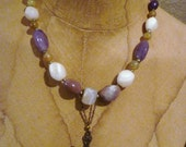 Amethyst and White Agate Semi-Precious Stone Necklace with Vintage Brass Cross