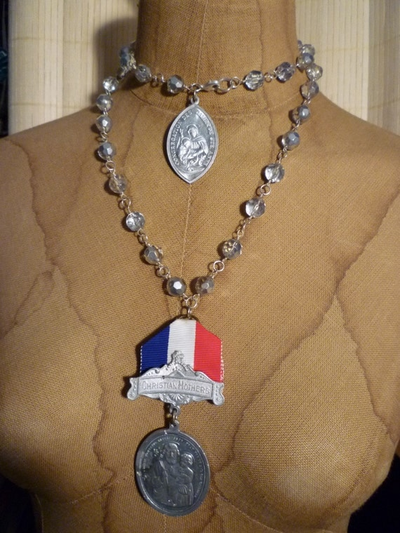Mothers Rosary Bead and St. Anne Medal Assemblage Necklace