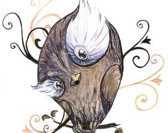 who fine art print a curious brown owl mute dark