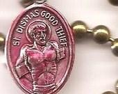 Bad Boys, St. Dismas Patron Saint Necklace on Brass Ball Chain