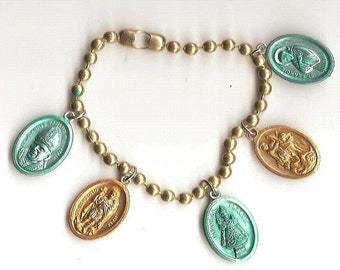 Jobs and Income, Saints for Finances Five Patron Saints Charm Bracelet on Large Ball Chain