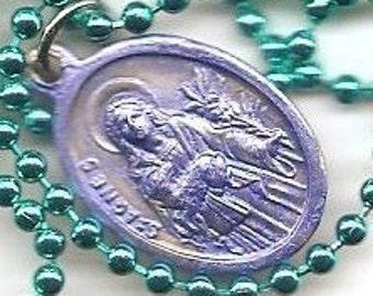 Virgins, St. Agnes and St. Cecila Patron Saint Medal on Green Ball Chain