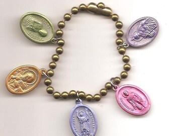Stop Smoking, Patron Saint Charm Bracelet on Brass Ball Chain