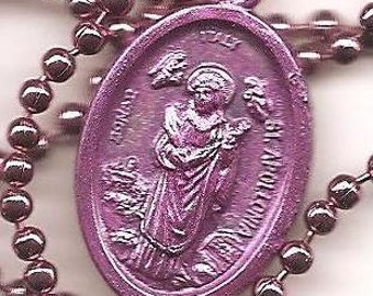 Dental Problems and Teeth, St. Apollonia Patron Saint Medal Necklace on Purple Ball Chain