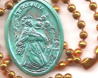 Hiders and Hermits,  St Rosalia Patron Saint Medal on Orange Ball Chain