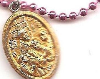 Nurses, Hospitals, Firefighters, Booksellers, St John of God Patron Saint Medal on Bright Pink Ball Chain