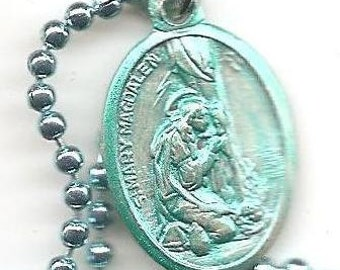 Naughty Girls,  St Mary Magdelene Patron Saint Medal on Sky Blue Ball Chain