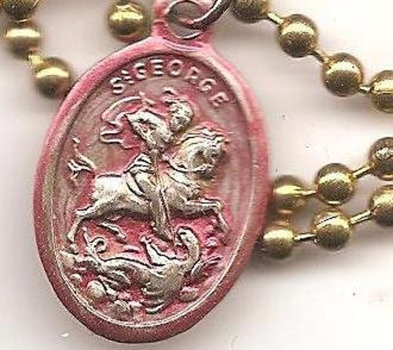 Dragonslayers, St. George Gold Colored Patron Saint Medal on Brass Ball Chain