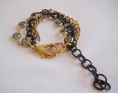 Vintage gray rhinestone multi chain bracelet - small