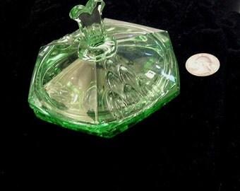 Art Deco Green Glass Dresser Jar