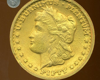 HUGE COIN 1930s Carnival Paper Mache Prize - Oversized Liberty Coin