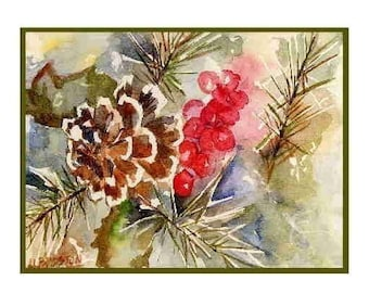 Christmas Pine Cones and Needles  Watercolor Notecards Note cards, Christmas Prints, Stocking Stuffers, Gift Box Set