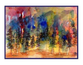 Watercolor Abstract  Forest Greeting Note Cards Notecards, Forest Print, Forest Stationery, Forest Art, Gift Box, Set, Stocking Stuffers