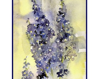 Watercolor Delphiniums Flower Notecards Note Cards, Blue Delphinium Art, Delphinium Prints
