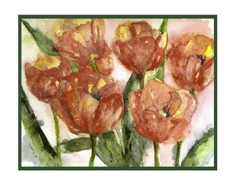 Watercolor Tulips in Bloom Greeting Note Cards Notecards, Red Tulip Prints, Stocking Stuffers, Gift Box