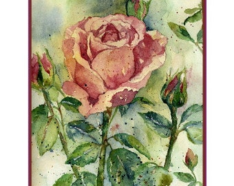 Watercolor Kiss From a Rose Notecards Note Cards, Rose Art, Rose Prints, Roses, Stocking Stuffers