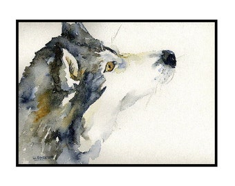 Watercolor Siberian Husky Greeting Note Cards Notecards, Sled Dog Cards, Dog Prints, Dog Stationery, Gift Box, Dog Lovers, Stocking Stuffers