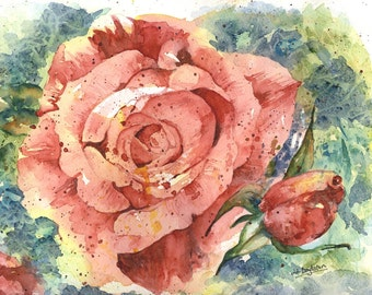 Original Watercolor Painting Face of a Rose, Rose Art, Pink Rose, Rose Decor
