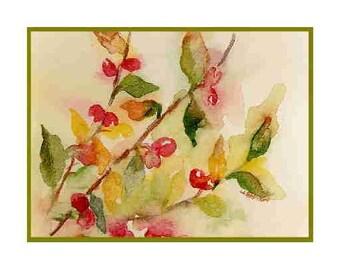 Christmas Watercolor Berries 6 Greeting Note Cards Notecards, Christmas Prints, Christmas Stationery, Gift Box, Stocking Stuffers