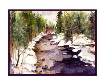Watercolor Winter River Note Cards Notecards, River Print, River Stationery, Gift Box, 6 or 8 Cards, Greeting Cards, Stocking Stuffers