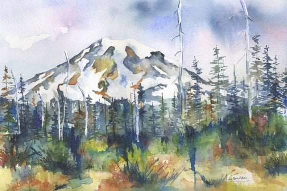 Original Watercolor Mt. Rainier Painting