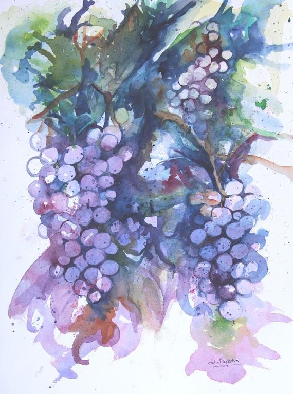 Original Watercolor Grape Cluster Painting
