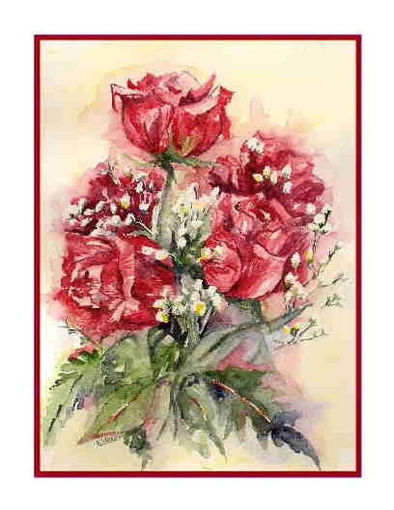 8 Watercolor Love is Roses Flower Notecards Note Cards