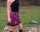 Wicked Kitty Mini Skirt - Faux Fur and PVC Ruffles - Skull Stud and D Ring Accents