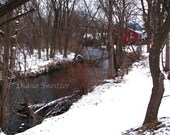Tree Landscape Photo, snowy river bank, winter scene, woodland photo