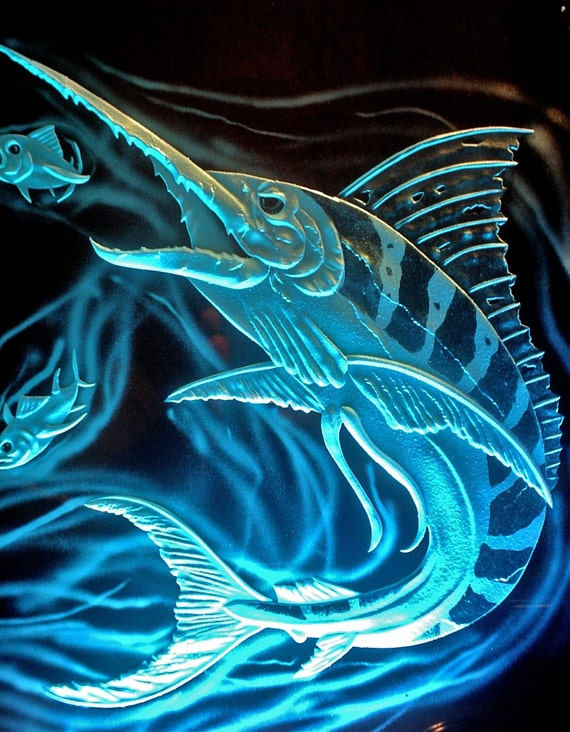 Cool Marlin carved glass and LED light base