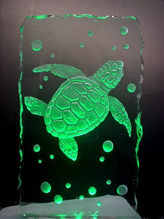 Little Sea Turtle Sandblasted Etched Carved Glass with LED light base