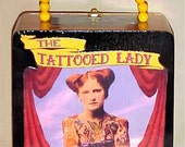 RESERVED For Meg --- TATTOOED LADY Freak Show Attraction Cigar Box Purse